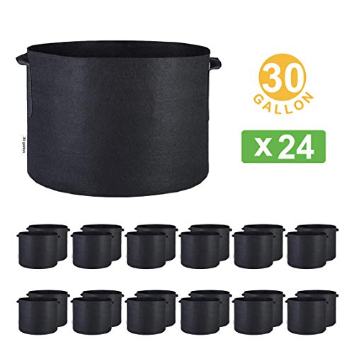 Oppolite Fabric Grow Pot 1 2 3 5 7 10 15 20 25 30 45 65 100Galen 3/6/12/24-pack Grow Bags Fabric Aeration Plant Pots Container (24, 30 Gallon W/Handles)