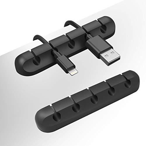 Vindar Kabelclips 2-Pack 5 Kanal Kabelhalter Kabelführung Kabel Wire Management Organizer Kabel aufgeräumt für Schreibtisch, Netzkabel, USB Kabeln, Ladegeräte, Audiokabe,TV-Kabeln