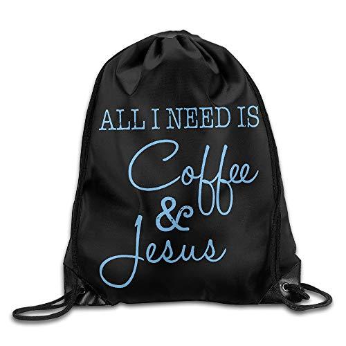 NA alles wat ik nodig heb is koffie en Jezus Cool Trekkoord Rugzak String Bag