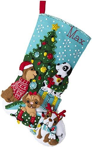 Bucilla Dogs, Felt Applique Christmas Stocking Kit, 18'