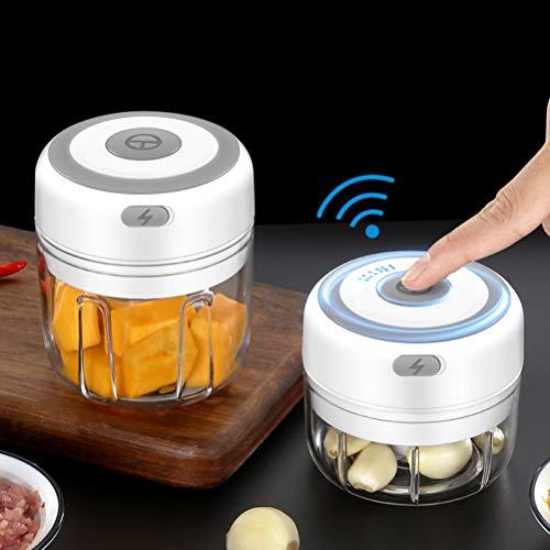 Stecto Mini Elektro Zerkleinerer, 100 ml Elektrische Tragbare Küchenmaschine, Elektrisch Zwiebelhacker, Hackfleisch Maschine USB-Lade-Gemüsemixer mit 3 Scharfen Klingen, Fleisch, Obst