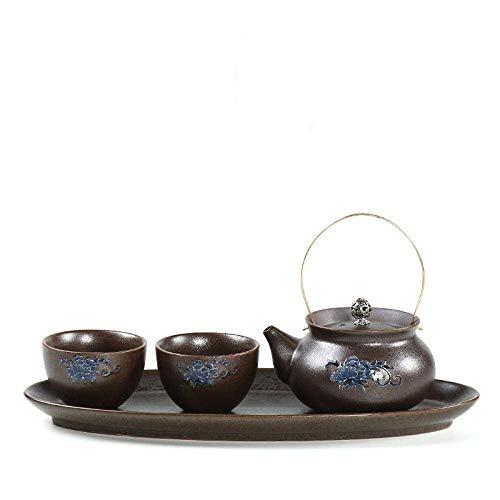 JY&WIN Keramische Teekanne, Reise-Teeservice, eine Kanne und zwei Tassen, Haushaltsset, Geschenk, tragbar-Flacher Elstertopf
