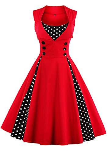 VERNASSA 50s Vestidos Vintage, Mujeres 1950s Vintage A-Line Rockabilly Clásico Verano Dress for Evening Party Cocktail, Multicolor, S-Plus Size 4XL