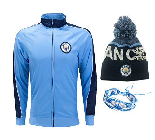 Icon Sport Manchester City Hoodie Jacket and Beanie Youth Boys Kids Official Licensed Winter New Season 2019-20 (Jacket Set 1, YL)