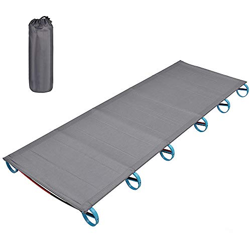 Acampar al Aire Libre Cama Portable de la aleación de Aluminio Plegable Traval Cuna Cama Ultraligero Carpa de Senderismo con Mochila 180x60x12cm