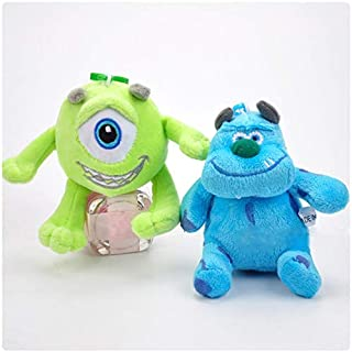 PAPIN Set 2 Mike Wazowski Sulley Plush Toys Keychain 3.75 inch Hot Toy Plushes Stuffed Doll Christmas Collectible Halloween Big Figures Collectable Gift Collectibles Gifts for Kids Baby Toddler