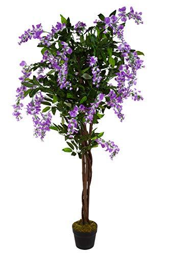 Birendy XXL Wisteria Blauregen JWTC-130 Riesige künstliche mit Echtholzstamm rosa Wisteria 130 cm hoch, Kunstpflanze, Kunstblume, Kunstbaum, Zimmerpflanze künstlich