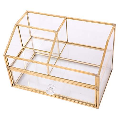 ACAMPTAR Nordisch Metall Glas Kosmetische Aufbewahrungs Box Schublade Organizer Desktop Staubdicht Watte St?Bchen Tissue Box Schmink Tisch Regal Dekor