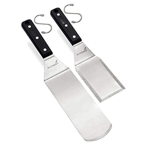 Anmarko Grill Spatula Set - Long Metal Spatula Spatula - Griddle Scraper and Pancake Flipper or Pizza Spatula - Offset Spatula - Stainless Steel Utensil Great for BBQ Grill Flat Top
