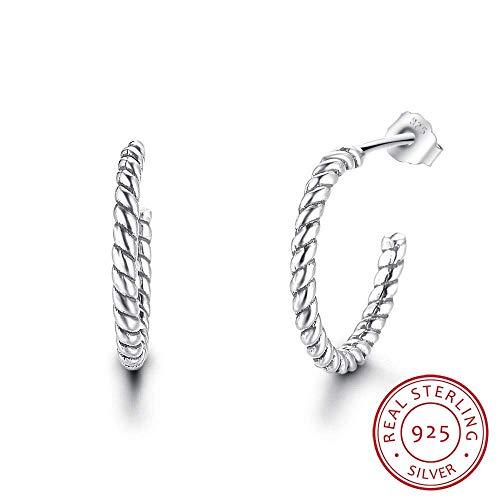 Oorbellen Hoops Studs Mode Spiraal Vorm Ontwerp Effen 925 Sterling Zilver Hoop Oorbellen voor Vrouwen Gift voor Haar Vrouwen Dangle Oorbellen 1 Paar, EEH A Oorbel