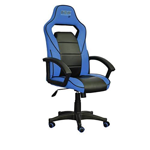 Adec - Sillón Escritorio despacho o Oficina, Silla Estudio Color Azul y Negro Modelo Xtrem, Medidas: 65 (Ancho) x 65 cm (Profundo) x 117-125 (Alto) cm.