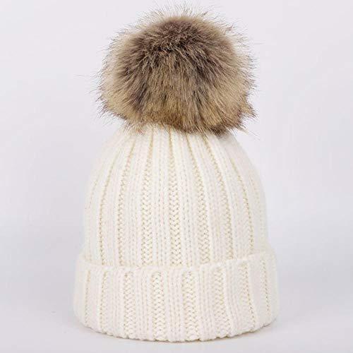 LASISZ Simpatici Pompom Beanie muts voor kinderen, wintermuts jongens meisjes moda zachte sjaal sjaal baby wikkeldoek voor kinderen, wit