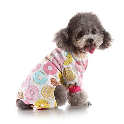 Gychee Hundebekleidung Hunde-Pyjama Welpen-Strampler Haustier Jumpsuits Baumwolle mit 4 Beinen Bodys für kleine Hunde und Katzen alle Jahreszeiten