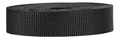 Strapworks Lightweight Polypropylene Webbing - Poly Strapping for Outdoor DIY Gear Repair, Pet Collars, Crafts - 1 Inch x 25 Yards - Black