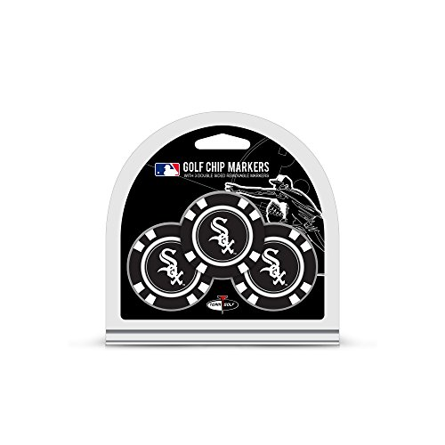 Team Golf MLB Golf Chip Ball Markers (3 Count), Poker Chip Size with Pop Out Smaller Double-Sided Enamel Markers, Chicago White Sox