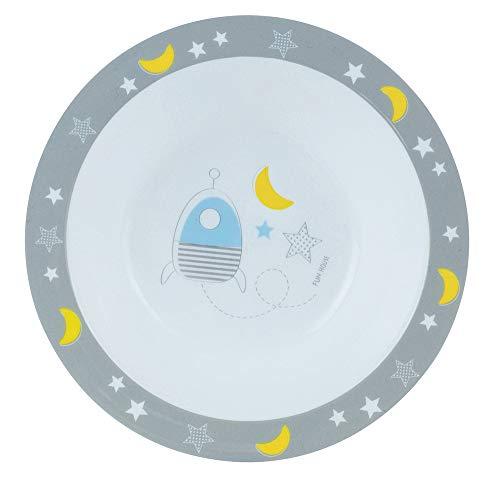 FUN HOUSE 005688 Espace Fusee Bol/Assiette Creuse Micro-ondable pour Enfant