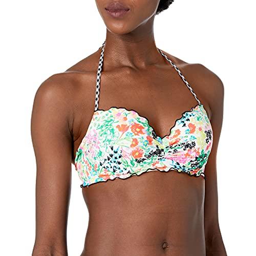 COCO RAVE Women's Standard Bandeau Bikini top Swimsuit with Ruffle, Merci Bouquet White Multi, 36C