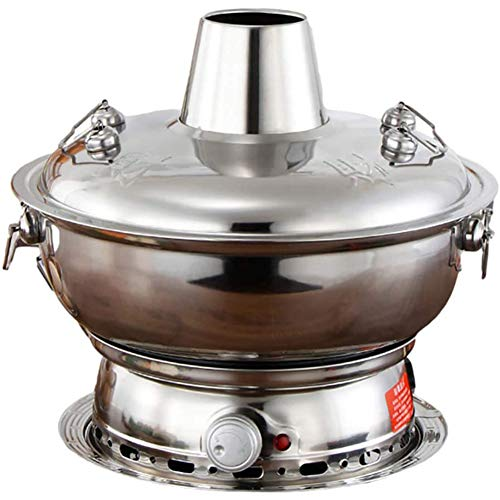 YUKM 2 in 1 Electric Hot Pot Beijing Chinese Hot Hot Copper Stainless Steel Boiler Heated Boiler Charcoal Stove Hot Pot, 30-36Cm,silver,36cm