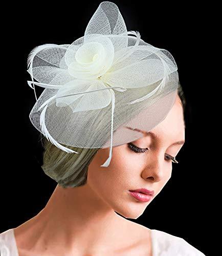 Veil Hoed Bruiloft Headdress Bow-Tie-Haired Banket Jurk Mesh Jurk Hoed Beige