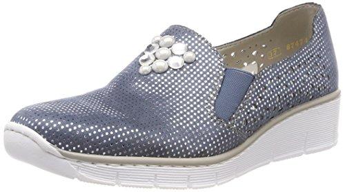 Rieker Damen 537Y5 Slipper, Blau (Bleu-Silver), 39 EU