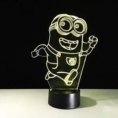 Lámpara de ilusión 3D Luz de noche Led 7 colores que cambian la iluminación del bebé Minions Acrílico Dormitorio Juguete Decoración para niños Regalos Lámpara de mesa