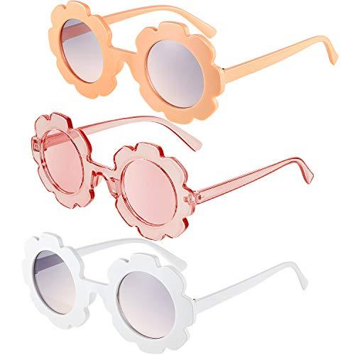 3 Piezas Gafas de Sol de Flor Redonda Gafas de Sol de Playa Linda al Aire Libre para Niños(Naranja Claro, Blanco, Rosa Transparente)