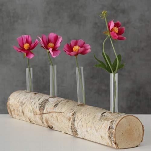 4er Vase BIRKE 40cm Reagenzgläser Tischdeko Hochzeitsdeko Birkenstamm Windlichter Vasen Glasvasen Tischdeko Naturdeko Frühlingsdeko Osterdeko