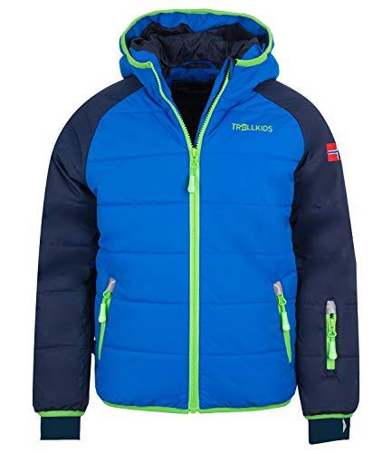 Trollkids Kinder Hafjell XT Wasserabweisende leichte Skijacke Winterjacke, Marineblau/Mittelblau/Grün, Größe 164
