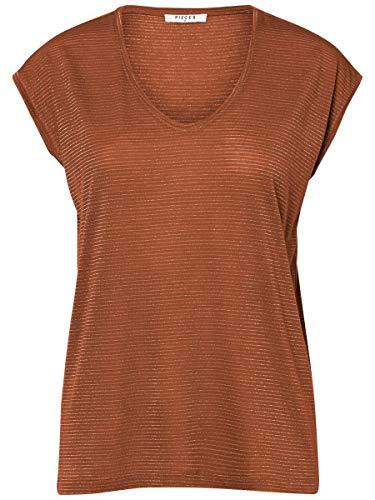 PIECES Damen PCBILLO Tee Lurex Stripes NOOS T-Shirt, Mocha Bisque, XS
