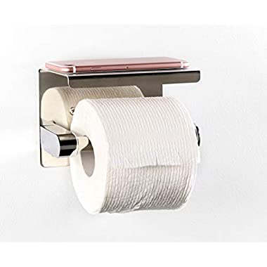 VLuxe Products Bathroom Tissue Paper Holder with a Mobile Phone Storage Shelf Strong Toilet Paper Holder Stainless Steel with Cell Phone Rack, RustProof (Polished Chrome)