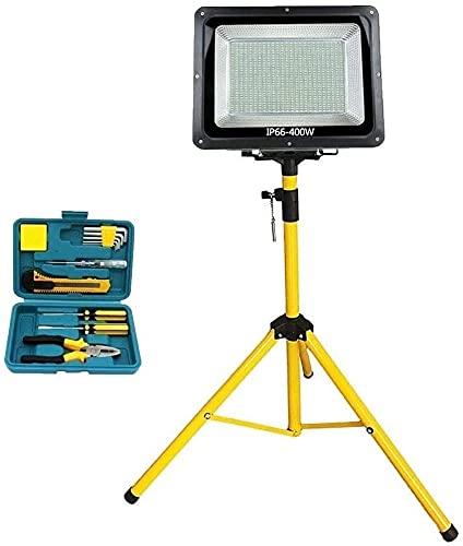 WSVULLD Illights, Foco, Luces publicadas 400W LED al Aire Libre Luz de Trabajo con trípode |IP66 Impermeable 9000lm Reflector Super Brillante para la iluminación de Carretera Camping, Pesca