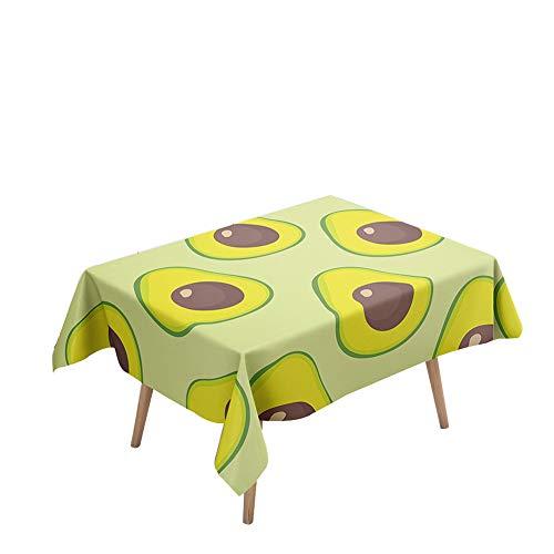 Morbuy Manteles Mesa Rectangular Antimanchas - Palta Fruta 3D Estampado Manteles Cuadrada Impermeable Lavable Mantel para Decoración Cocina Salón Jardín Comedor (Aguacate Amarillo,140x160cm)