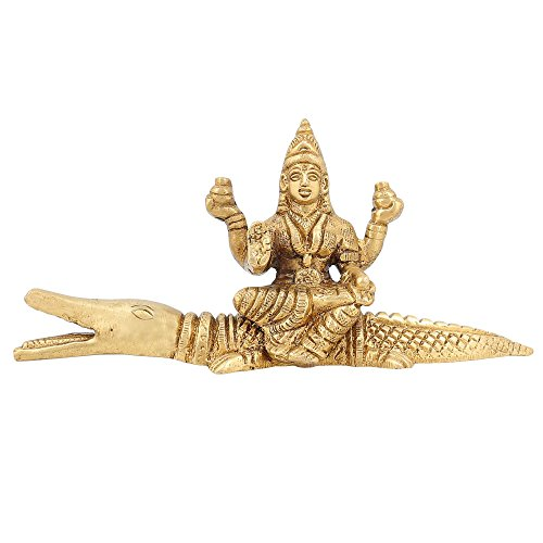 Shalinindia Messing Statue Lakshmi Göttin des Reichtums Hindu Idol Diwali Puja 6,3cm, 235gr