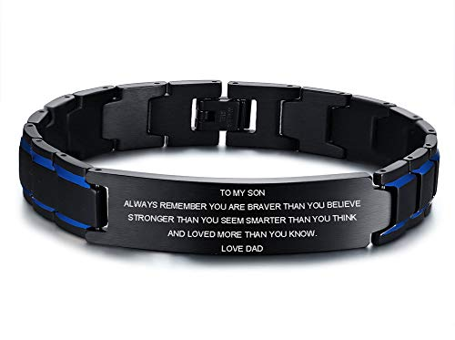 Free Custom Engraving Stainless Steel Magnetic Therapy Bracelet with Free Links Removal Tool (to My Son-Love dad)
