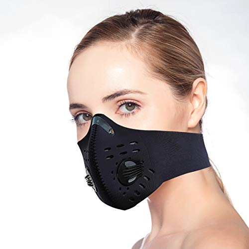 Unisex Adjustable Reusable Dust Face Protection with Carbon Filters and Breathing Valves for Bicycle Riding Running Cycling Outdoor Sport Dust Mask