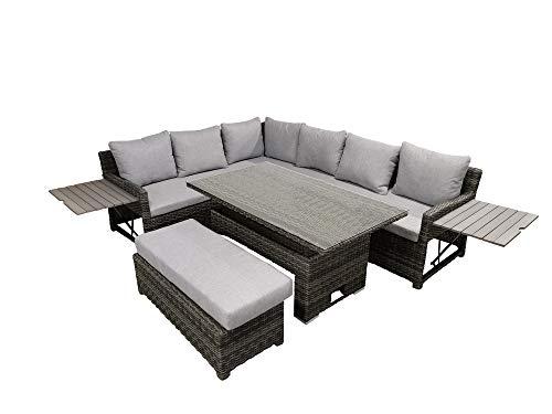 DARO DEKO - Conjunto de Muebles de jardín de polirratán con Mesa Ajustable y 7 Cojines
