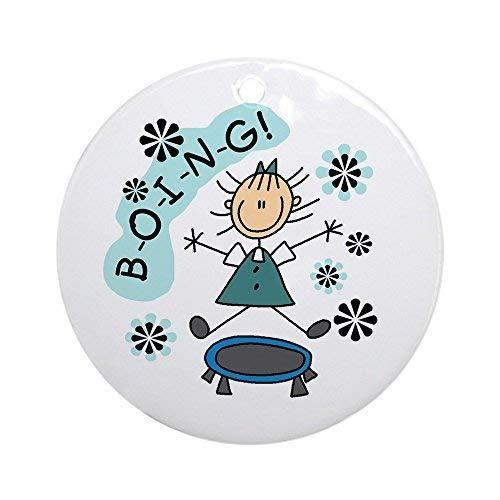 Cukudy Meisje Op Trampoline Keramisch Ornament 3 inch Rond Vakantie Kerst Ornament