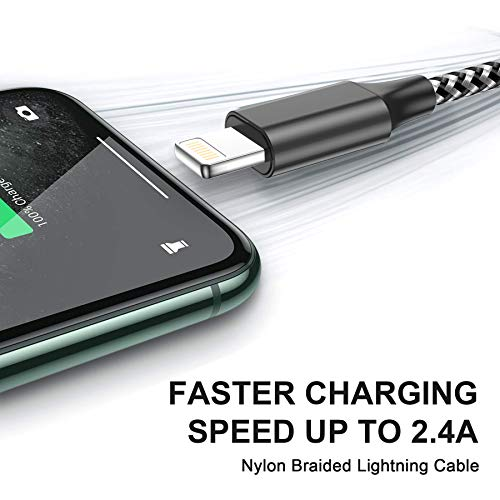 RAVIAD iPhone Ladekabel, Lightning Kabel [3Stück 2M] Nylon iPhone Kabel Ladekabel Kompatibel für iPhone 12 Pro Max Mini 11 Pro Max XR XS X 10 8 7 6 6S Plus 5 5s SE 2020, iPad Mini/Air/Pro - Schwarz
