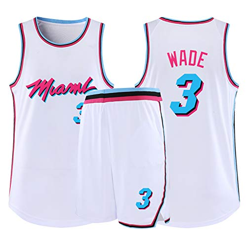 Wade #3 Miami Basketball Trikots für Herren College City Basketball Trikots Kleidung Tank Top Trainingsanzug Weste Sport T-Shirt (S-5XL), 123, farbe, Black-XL