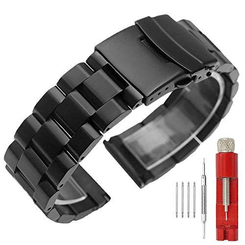 Kai Tian Correa reloj 22mm de metal Correas de reloj clásica de acero inoxidable Reloj de hombre sólido Correa de reloj negra Cierre de despliegue