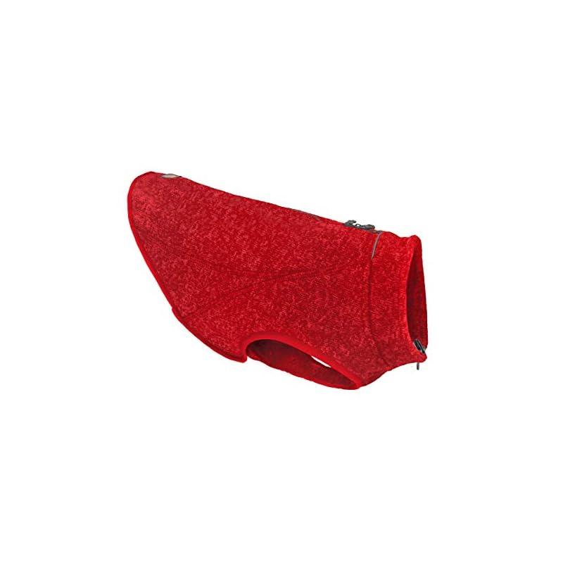 dog supplies online kurgo k9 core dog sweater | sweater for dogs | dog fleece vest | knit fleece pet jacket | fleece lining | lightweight | zipper opening for harness | adjustable neck | heather red | 5 sizes (small)