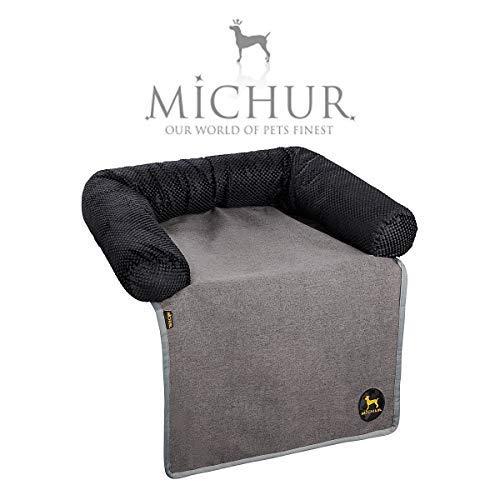 Michur Sofaschutz Alex, waschbares Tier Sofa für Hunde und Katzen in edlem anthrazit, Hundekörbchen, Hundesofa, Hundekissen, Hundebett, 70 cm x 90 cm x 14 cm