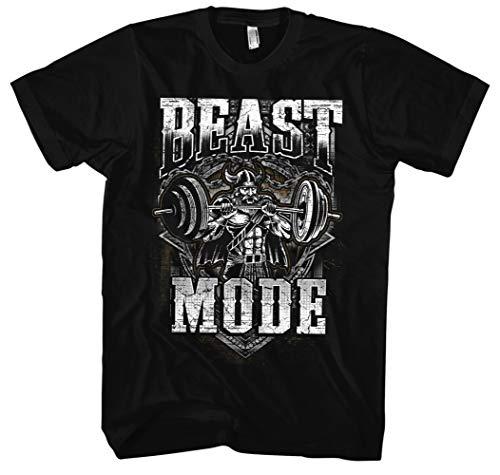 Viking Beast Mode Männer Herren T-Shirt | Gym Muskel Bodybuilding Kraftsport Fitness Training Wikinger (3XL)