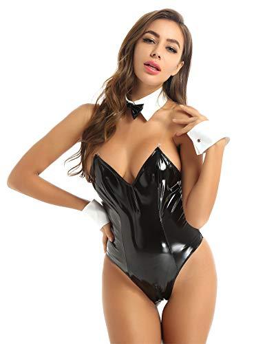 JEATHA 3 Stück Damen Häschen Kostüm PU Leder Dessous Set Cosplay Outfit Party Festival Halloween Kostüm Schwarz XL
