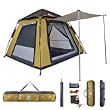 Hewolf Camping Tent 3-4 Person,Pop Up Tent, Automatic Waterproof Tent with Porch, 2-Door and 2-Pane Double Layer Instant Tent for Family(Camel)