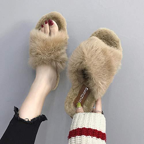 B/H Pantuflas de espuma viscoelástica para hombre, zapatillas para el hogar, cálidas y de lana, color caqui 35, zapatillas de espuma viscoelástica para hombre