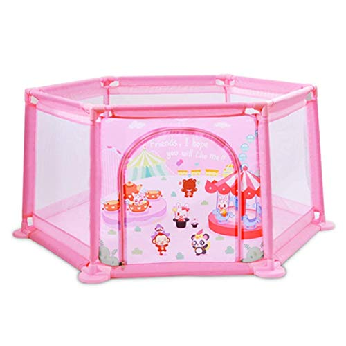 Portable Baby Fence Baby Playpen Indoor & Outdoor Play Space Easy & Quick Assembly with Gate & Safety Lock Pink Size