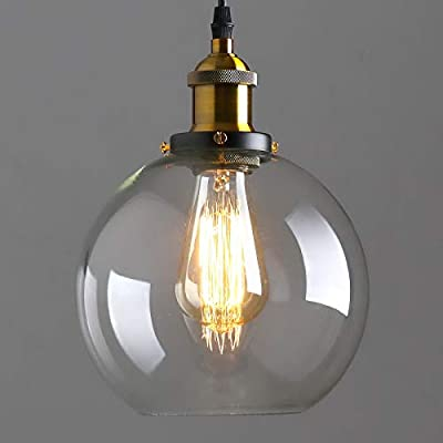 """Glass Globe Pendant Light, 7.8"""" Industrial Vintage Hanging Pendant Light Fixtures with Clear Glass Lampshade, Mid Century Round Pendant Light for Kitchen Island Dining Room"""