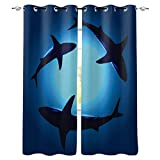 Victories Blackout Curtains 2 Panels for Bedroom-Grommet Thermal Insulated Room Darkening Curtains,Underwater Shark Window Drapes for Patio Door