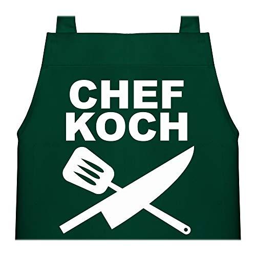 Shirtracer Kinderschürze mit Motiv - Chefkoch Messer - 60 cm x 50 cm (H x B) - Grün - kinderschürze jungen - X978 - Kochschürze und Schürze für Kinder